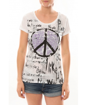 L'Atelier du Marais T-Shirt Peace And Love Blanc