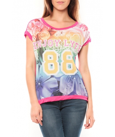 De Fil en Aiguille T-shirt 88 Rose - 1 acheté = 1 offert
