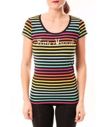 Little Marcel Tee-shirt Line MC Multi 315 Noir/Multicolor