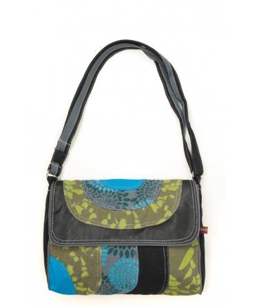 Bamboo's Fashion Petit Sac Besace Libreville GN-155 Gris/Vert/Bleu