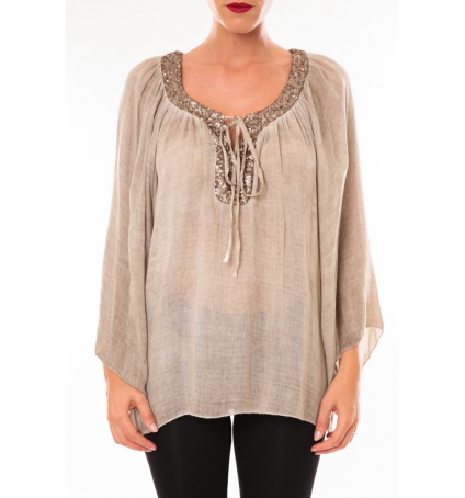TCQB Tunique TDI paillettes taupe