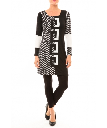 Bamboo's Fashion Manteau BW663 noir et blanc