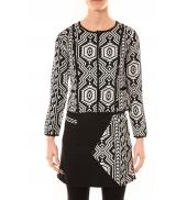 Bamboo's Fashion Veste Chiner BW682 noir et blanc