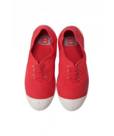 Bensimon Tennis à lacets Rouge
