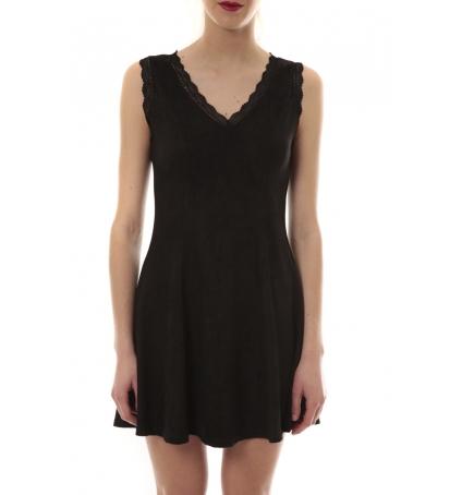 Robe suedine Noir R 6229