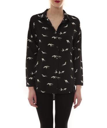 Chemise Noir Oiseaux Blanc