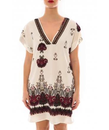 Robe Rina imprimée Blanc/Rouge