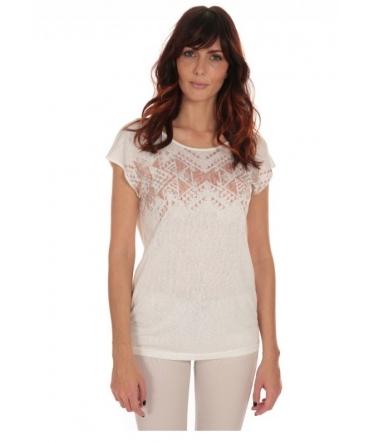 Tee Shirt Manches courtes motif irisé Blanc