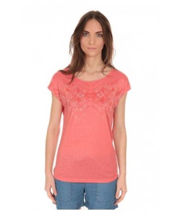 Tee Shirt Manches courtes motif irisé Corail