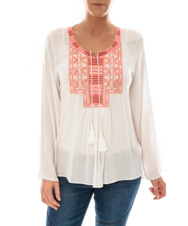 Top Pink Blanc Broderie Corail