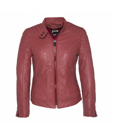 BLOUSON MOTARD AC EMPIECEMENTS MATELASSES SCHOTT Bordeaux