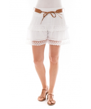 Short dentelles 3 volants Blanc