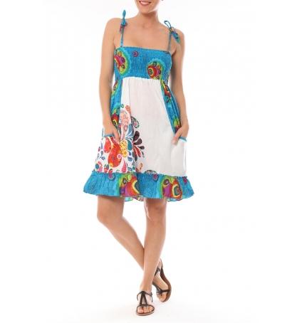 Robe bretelle  Grenada imprimée Fleurs