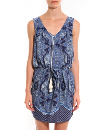 Ema Blues Robe Bambou Bleu motif Cachemir
