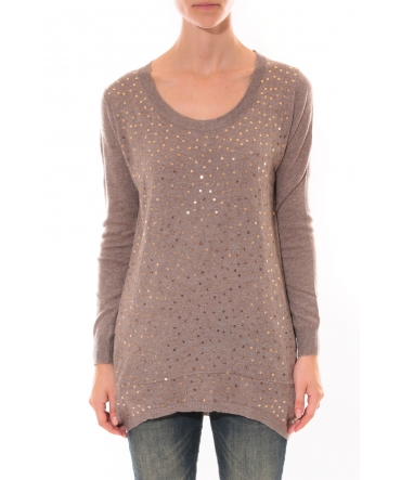 Vision de reve Pull strass Taupe
