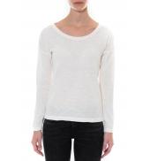 Petit Bateau T-shirt ML Femme Col rond en Jersey flammé Blanc Capecod