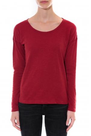 Petit Bateau T-shirt ML Femme Col rond en Jersey flammé Rouge Capecod