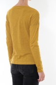 Petit Bateau T-shirt ML Femme Col rond en Jersey flammé Moutarde Capecod