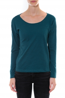 Petit Bateau T-shirt ML Femme Col rond en Jersey flammé Bleu canard Capecod