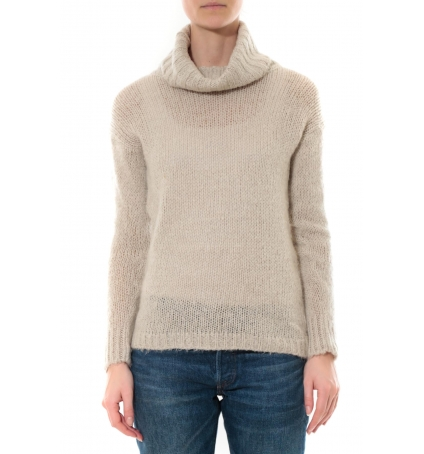 Pull col roulé Beige