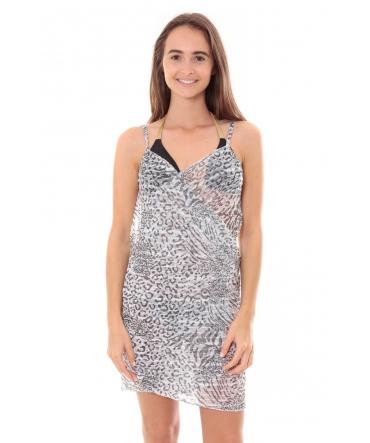 Robe Pareo de plage Leopard  Blanc