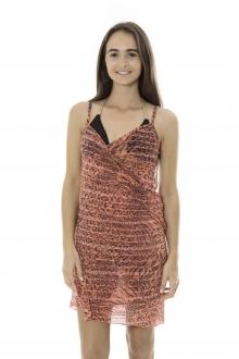 Robe Pareo de plage Leopard  Rouge