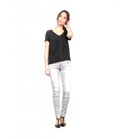Les Petites bombes Tee Shirt Bi Matiere Mini Clou Noir  S174104