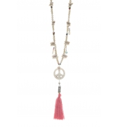 Collier sautoir Peace Rouge