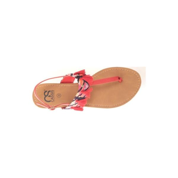 Sandales, nu-pieds Cassis Côte D'azur Ella entre doigt bridées et Pompons Black