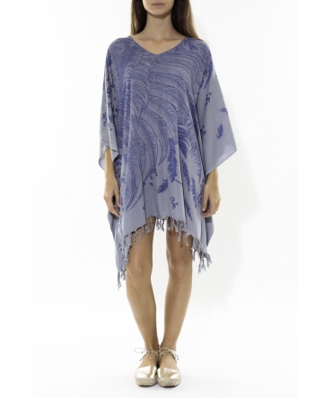 Poncho Feather bleu/gris