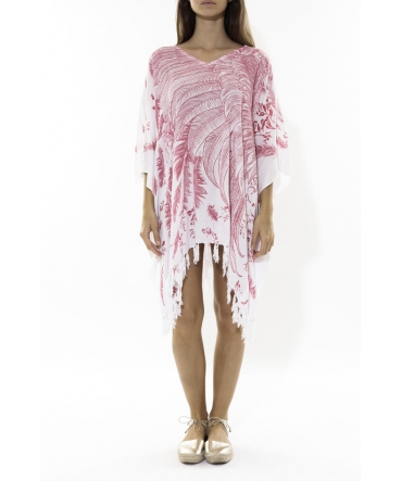 Poncho Feather blanc/rose