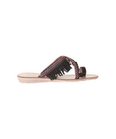 Sandale frange noir  20261