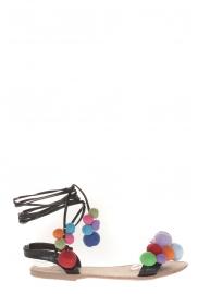 Sandale Noir avec pompons 900-2