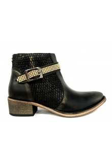 Ilario Ferucci Bottines Flower Cuir Noir