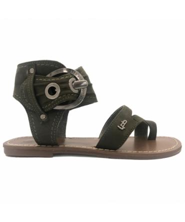Les P'tites Bombes Sandale 5-Pensee Velours Kaki