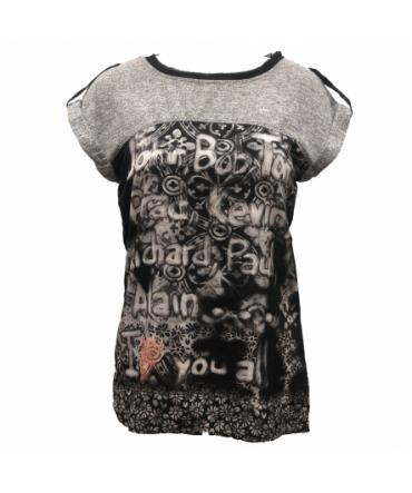 Desigual T-shirt Bi-matière Noir