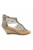 Sandales compensées taupe