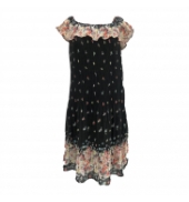 Robe care of you noir motifs fleuris