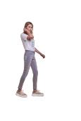 Les Petites Bombes jeans taille haute Lou light grey