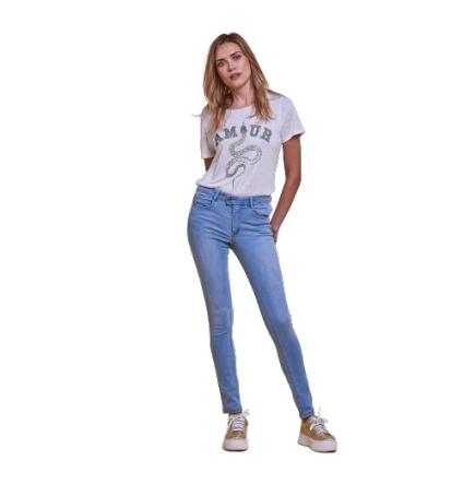 Les Petites Bombes jeans taille haute Lou light blue