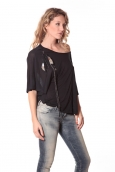 Tee-shirt Plumes 13q555 noir