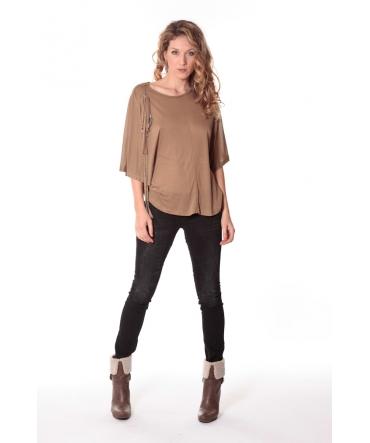 Tee-shirt Plumes 13q555 Camel