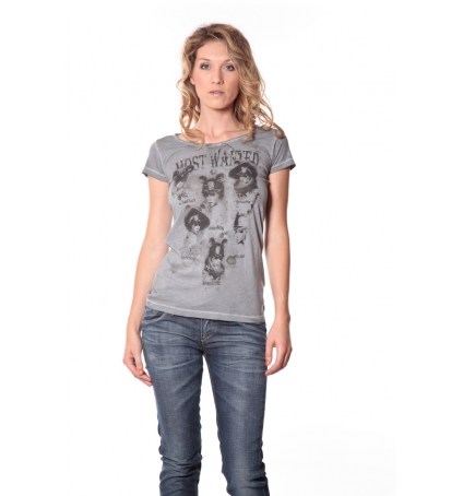 Rich&Royal Tee shirt Visages Gris 13q465